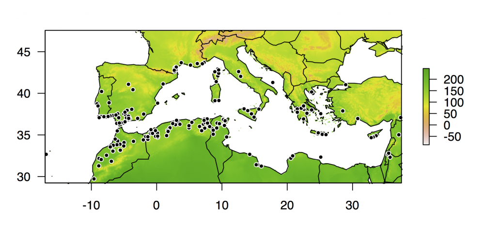 The sites of collection for plant lines in the HapMap panel (black points), with locations shaded by annual mean temperature, in ºC*10.