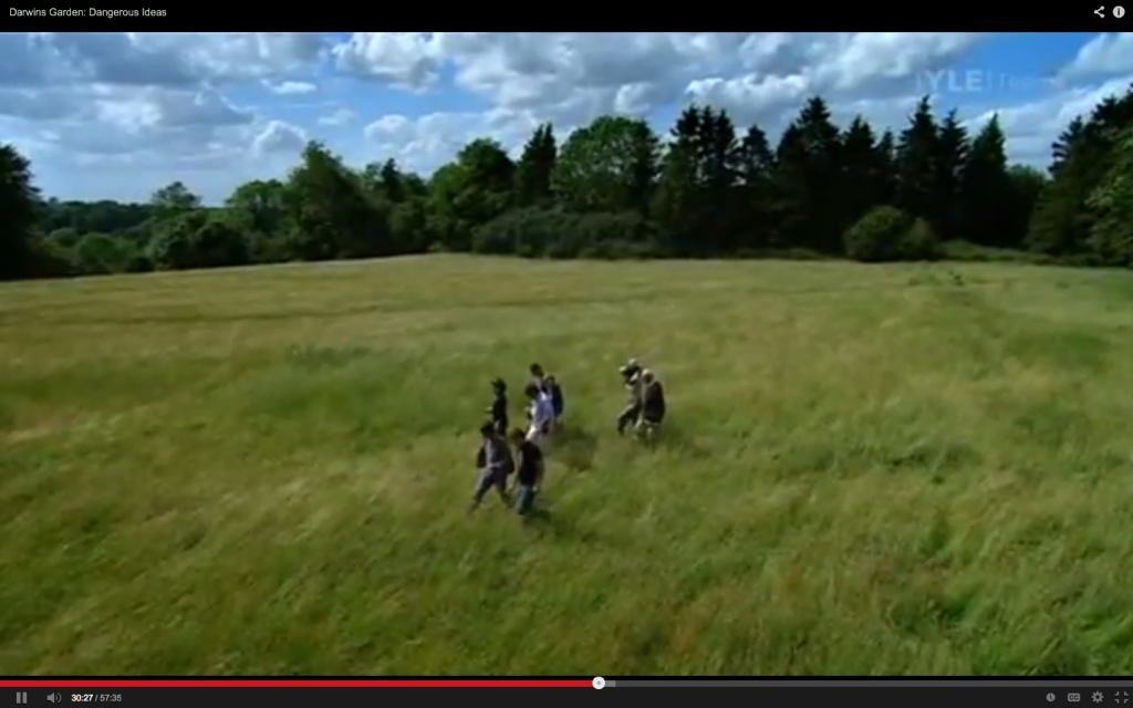 "NHM botanists resurveying Great Pucklands Meadow. Screen capture from the 2009 BBC program ""Jimmy Doherty in Darwin's Garden""."