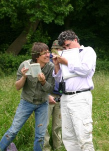 NHM botanists Mark Spencer and Fred Rumsey puzzle over a grass. Photo: Karen James