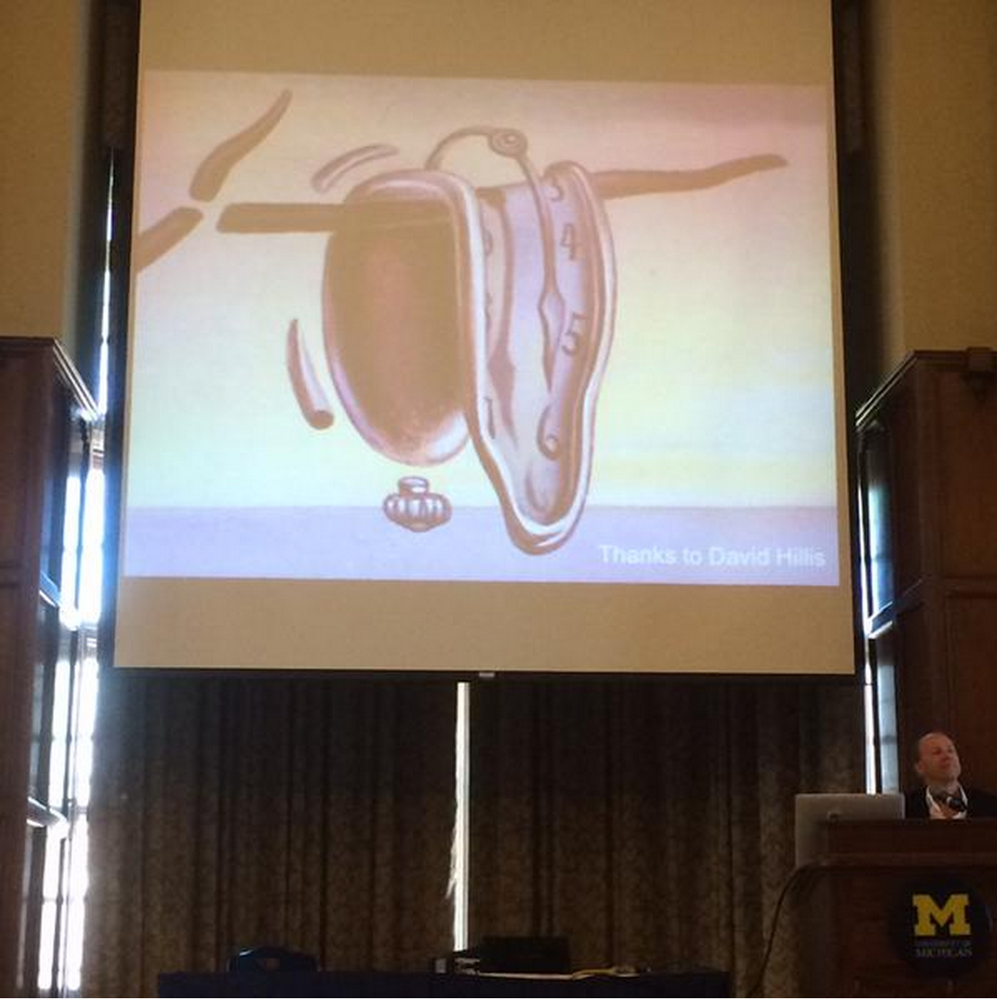 """Tweet from David Hillis: """"Molecular clocks can be useful but we need to take sources of error seriously (like Dali clock) #SSB2015"""""""