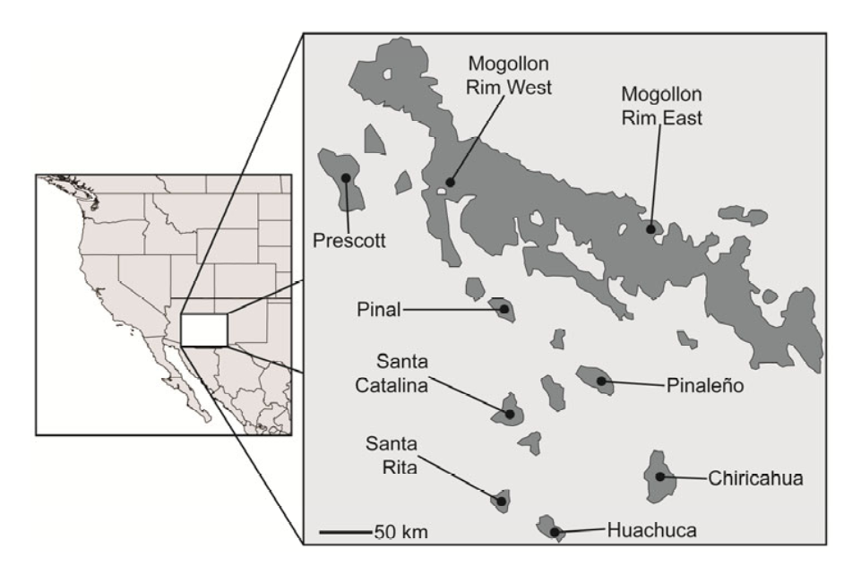 Figure 1 from Manthey and Moyle (2015) displaying the sampling areas of the Madrean Sky Islands