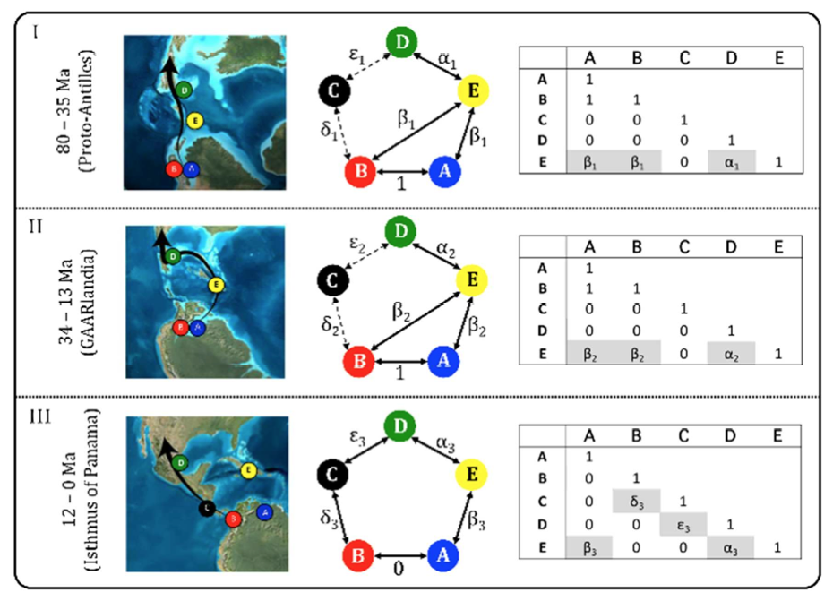 Fig. 1. Estimating observed dispersal rates (DO) across the Caribbean Plate margins in LAGRANGE+. Paleogeographic reconstructions (left) and models of area connectivity through time (center), represented as a dispersal rate matrices (right). Dispersal rate parameters (Greek letters) are estimated in a ML framework employing a Dispersal-Extinction-Cladogenesis (DEC) model of geographic range evolution and empirical time-calibrated molecular phylogenies. Time intervals (I-III) encompass major geological events thought to have affected vicariance and dispersal across the Caribbean Plate (see text). Paleogeographic maps and data from Pindell and Kennan (2009) and Blakey (2011). Areas: A = Cis-Andean; B = Trans-Andean; C = Panama; D = Nuclear Central America; E = Greater Antilles.