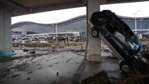 The parking lot of the Sendai airport immediately following the tsunami. © Roberto De Vido/TucsonSentinel.com