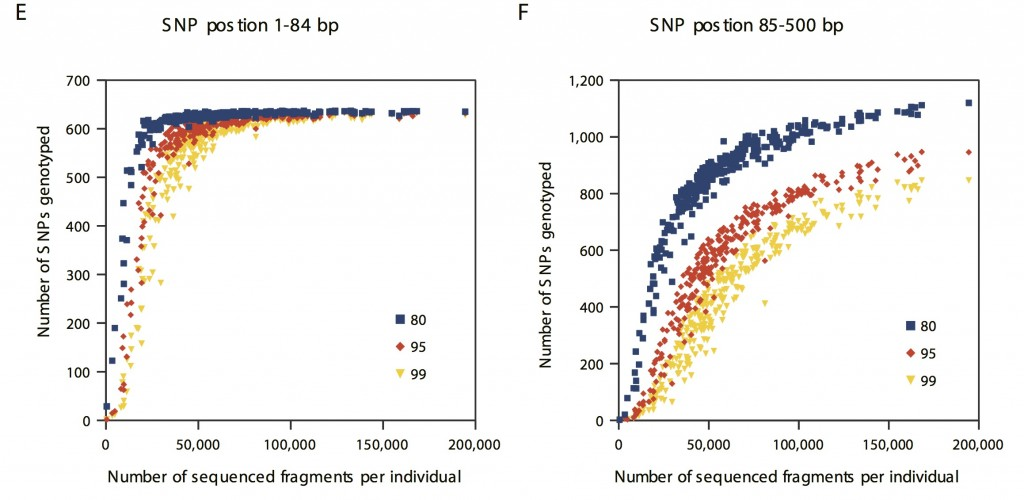 Number of genotyped SNPs per number fragments sequenced across Rapture sites. Colored points refer to the posterior confidence in the genotype call. From Ali et al., 2015.