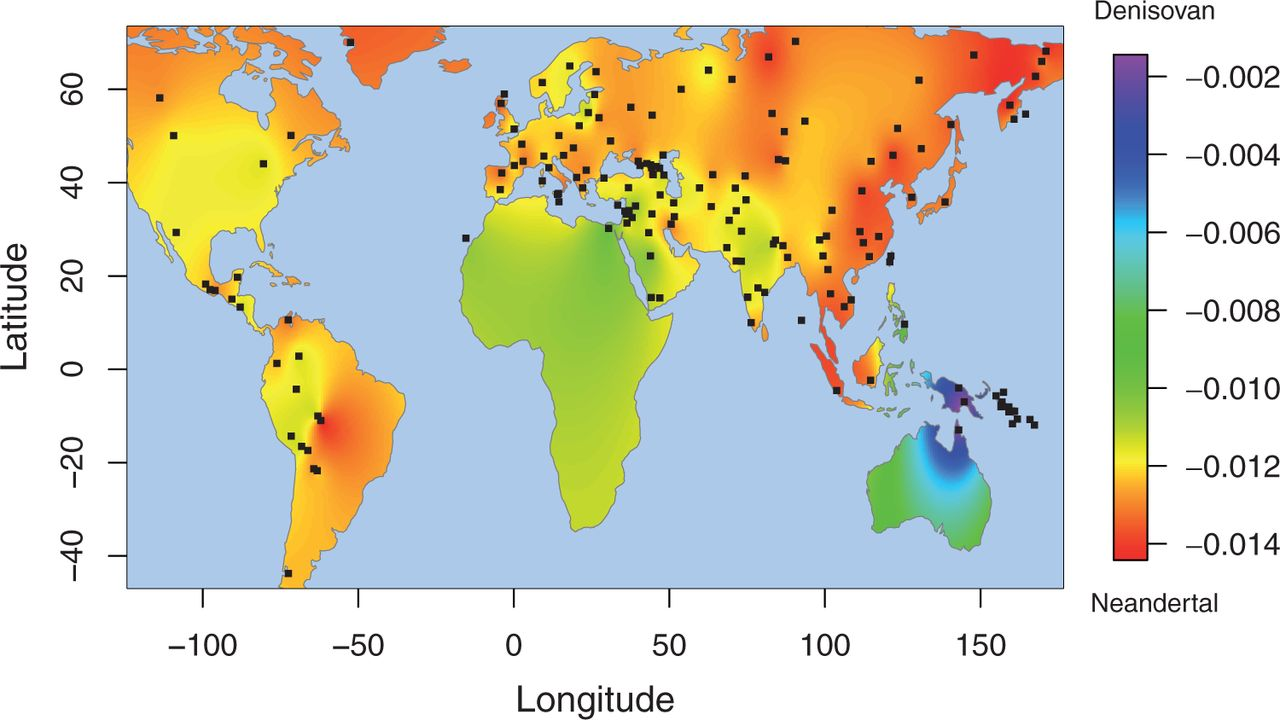denisovan ancestry in modern human populations measured as an f statisticdistribution across the world. geographical heat maps in r