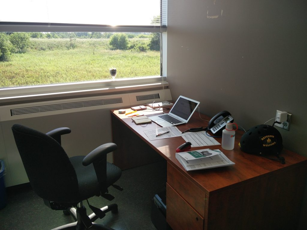 "Aaron currently in the lead for the ""Best Office View"" category!"